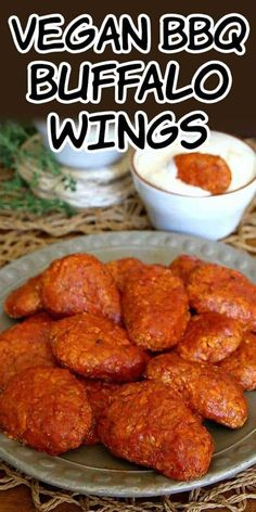 Boneless BBQ Buffalo Wings are plant based and made with a ground tofu mixture. Don't miss this one! The sauce has a mild underlying sweetness that just breaks through the spicy heat. Then you get a flavorful chewy bite that makes it hard to resist. #appetizer #fingerfood #vegan #veganfood #veganrecipes #DairyFree #oilfree #cookbook #vegancookbook #veganinthefreezer Tofu Recipes, Vegan Recipes Easy, Whole Food Recipes, Cooking Recipes, Recipies, Savoury Finger Food, Finger Food Appetizers, Finger Foods, Vegan Foods