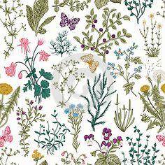 Vector vintage seamless floral pattern.