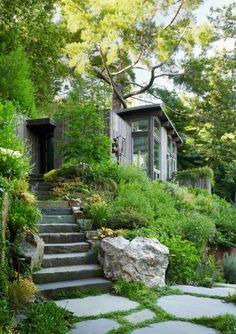 Mill Valley Cabins - Contemporary - Landscape - San Francisco - Feldman Architecture, Inc. Landscape Architecture, Landscape Design, Garden Design, Sustainable Architecture, Landscaping On A Hill, Natural Landscaping, Landscaping Ideas, Guest Cabin, Rooftop Garden