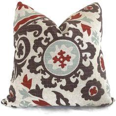 Brown, Aqua, Red Suzani Decorative Pillow Cover