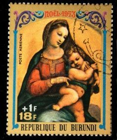 A stamp printed in Burundi shows Christmas scene - Mother of God with child, one stamp from series, circa 1973 Stock Photo
