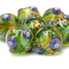 Jungle Juice - Colorful Round Lampwork Bead Set by Sarah Hornik, $63.00