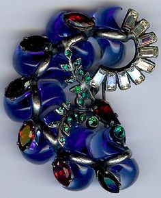 Vintage Costume Jewelry. Blue and Red Glass Brooch. circa 1940s.