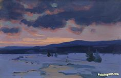 CrÉpuscule d'hiver Artwork by Clarence Gagnon Hand-painted and Art Prints on canvas for sale,you can custom the size and frame