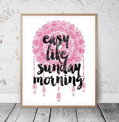 Easy Like Sunday Morning Typography Print Printable Wall