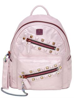 MCM - SMALL REBEL TUMBLED LEATHER BACKPACK - PINK