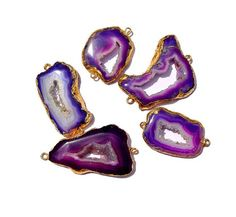5Pcs 24Kt Gold Electroplated Edge Purple Druzy by RareGemsNJewels