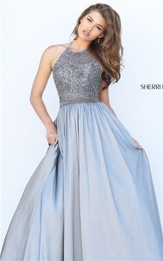 Gunmetal Halter Beaded Open Back 2016 Long Prom Dresses Sherri Hill 50221