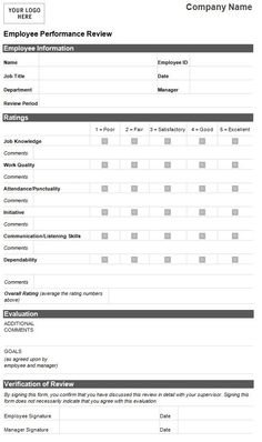 Free Employee Self Evaluation Template Forms  Google Search