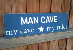 Great gift for fathers day! Let him have his own personal space in the house this Father's Day. Man Cave Rules, Man Cave Signs, Man Cave Inspiration, Interior Inspiration, Man Cave Essentials, Bar Shed, Directional Signs, Man Cave Garage, Pantry Ideas