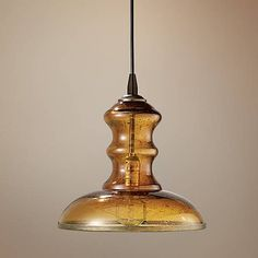 "Jamie Young St Croix 9 3/4"" Wide Amber Glass Mini Pendant - #M9963 