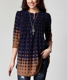 Love this Navy & Brown Dot Notch Neck Pin Tuck Tunic - Plus on #zulily…