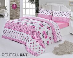 Set cuvertura pat pentru doua persoane Anatolia pink Comforters, Blanket, Bed, Furniture, Home Decor, Creature Comforts, Quilts, Decoration Home, Stream Bed