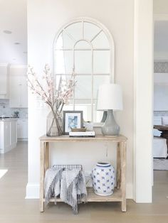 Entry decor – Home decor – Spring home – Small entryway table – Decor – Home – We have 181 ent – Decorating Foyer Small Entry Tables, Entryway Tables, Entry Table With Mirror, Narrow Entry Hallway, Wall Mirror, Bright Spring, Decoration Design, Spring Home, Entryway Decor