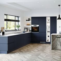 Bring in rich, luxe tones to a kitchen with the bold navy colour of this handleless door. Kitchen Room Design, Modern Kitchen Design, Home Decor Kitchen, Kitchen Living, Kitchen Interior, Kitchen Designs, Howdens Kitchens, Handleless Kitchen, Home Kitchens