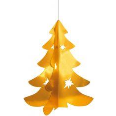 Hangdecoratie kerstboom 50 cm. Deze hangdecoratie in de vorm van een kerstboom is gemaakt van brandvertragende papier en karton. Het formaat van de kerst versiering is ongeveer 50 cm.