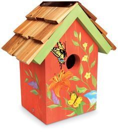 1356: Handpainted Butterfly Birdhouse (Product Detail)