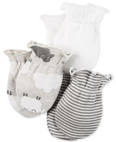 Carter's Baby Boys' or Baby Girls' Little Lamb 3-Pack Mitts