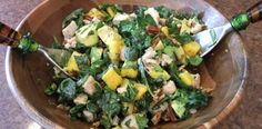 Spinach Salad with chicken, avocado and mango.  Great blog for healthy meals.