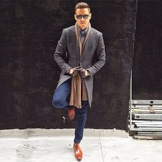 Coat, scarf, shades and denim #style