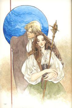 Art of fantasy style couple by manga artist Natsuki Sumeragi.