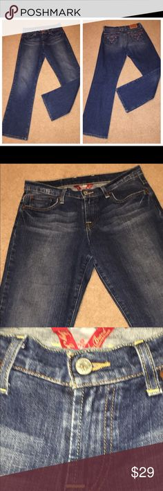 Women's Lucky Brand cotton blue denim jeans 28 6 073017-23 drnerds  Vintage ladies Lucky Brand cotton denim jeans, Sz 6  Vintage ladies Lucky Brand 99% cotton/1% Spandex dk denim jeans with full legs and embroidery on back pockets, Sz 6 Waist - 30 Inseam - 29 Lucky Brand Jeans