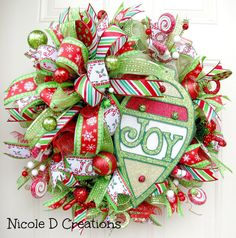 Christmas Wreath Joy Holiday Wreath Deco Mesh by NicoleDCreations