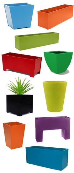 fun colorful planters from recycled material