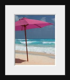 This umbrella stands in the sand as a vibrant contrast to the aqua sea, blue sky, and foamy white waves. The scene is on a beautiful beach in Barbados.  I changed the color of the umbrella to pink for a special young lady, and liked it so much I decided to list it.   Studio name does not appear on photograph.  Please convo me if you would like another size or finish. Prices are listed on my main page. http://www.etsy.com/shop/photomcgee  The second image is an example of h...