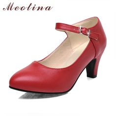 Meotina Shoes Women High Heels Ladies Pumps Big Size 34-42 Spring Pointed  Toe Mary 48fd3739332a