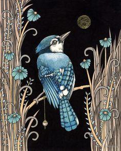 Something Borrowed, Bluebird Cross Stitch Kit, Anita Inverarity Cross Stitch Art, Modern Cross Stitch, Bird Illustration, Bird Art, Zentangle, Folk Art, Gallery, Drawings, Artwork