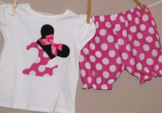 Disney Inspired Minnie Mouse Outfit -Baby Toddler Girls Bloomers Shorts -Perfect for Disney Trips - Birthday Gift- Pink Polka Dots. $36.00, via Etsy.