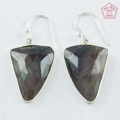 925 Sterling Silver Multi Sapphire Stone Dangle & Drop Earrings E4069 #SilvexImagesIndiaPvtLtd #DropDangle