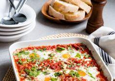 Simple Baked Tomatoes, Chorizo, Feta & Eggs