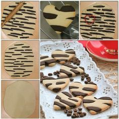 ZEBRA KURABİYE Yes, its not in English, but take a shortbread or sugar cookie recipe and adapt it with cocoa powder and maybe even some black food coloring? Zebra Cookies, Cute Cookies, Yummy Cookies, Cupcake Cookies, Cookie Recipes, Dessert Recipes, Biscotti Cookies, Food Decoration, Cookie Designs