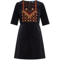 M.i.h Jeans Ezra embroidered velvet dress ($395) ❤ liked on Polyvore featuring dresses, navy, floral dresses, a line dress, navy a line dress, flower print dress and zigzag dress