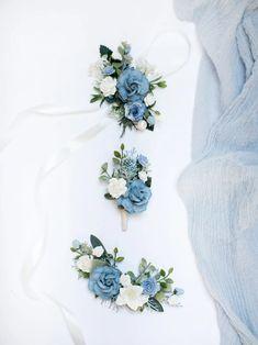 Синий набор аксессуаров Rustic boutonniere Белый корсаж | Etsy