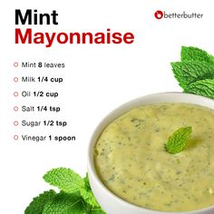 The perfect dip for your late-night munchies! This easy-to-make Mint Mayo is a creamy delight to binge on with your favorite chips or wafers . Indian Food Recipes, New Recipes, Vegetarian Recipes, Healthy Recipes, Masala Powder Recipe, Masala Recipe, Chutney Recipes, Sauce Recipes, Kitchen Recipes