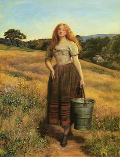 Farmer's daughter, John Everett Millais  @Mike Tucker Tucker-Mari April  (this reminds me of our abuela when she was young and working in her dad's farm, I know I wasn't there .....but from her stories....)