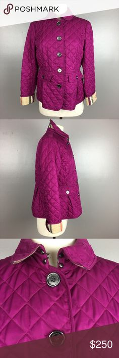 Authentic Burberry fuchsia pink quilted jacket Burberry Brit fuschia pink quilted jacket with peplum design. Signature check lining size medium, in excellent condition. Burberry Jackets & Coats
