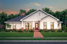 This farmhouse design floor plan is 1327 sq ft and has 3 bedrooms and has 2 bathrooms. Family House Plans, Best House Plans, Small House Plans, Modern Farmhouse Plans, Farmhouse Design, Farmhouse Style, Craftsman Farmhouse, Farmhouse Decor, Open Concept Floor Plans