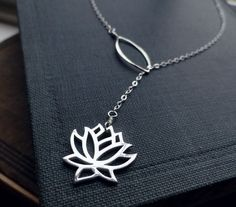 Lotus necklace, lariat necklace, Yoga Jewelry, Sterling Silver, y drop, Bridesmaid Gift, waterlily necklace, lotus lariat, lotus jewelry. $32.00, via Etsy.