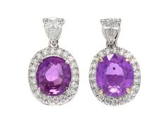 EARRINGS, 18K white gold, 2 pink sapphires approx 3,34 ctw, dropp- and brilliant cut diamonds approx 0,65 ctw, approx W-TCr/VS-SI, pushback, weight 5,0 g. #earrings #pink #sapphire