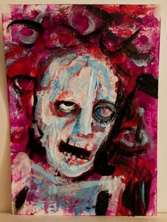 """""""Deathless"""" #2 original art card  3.5""""x2.5"""" acrylic , by jack larson  3.5""""x2.5"""" acrylic on bristol board, includes plastic sleeve and clear plastic shell"""