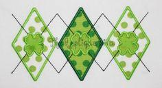 St Patrick's Day Argyle Embroidery Design Machine Applique Machine Applique, Free Machine Embroidery Designs, Applique Designs, Janome, St Patricks Day Nails, Diva Design, St Pattys, Embroidery Files, Cross Stitch Patterns