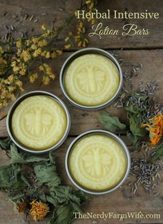 These Herbal Intensive Lotion Bars are one of the best treatments around for dry, calloused & sore hands. They're super easy to make too!