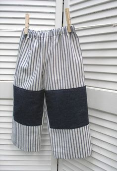 knee patch pants Patch Pants, Baby Kids, Baby Boy, Little People, Toddler Outfits, Blue Stripes, Sewing Ideas, Patches, Barn