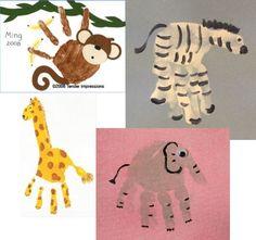 Handprint animals - shower activity for little kid guests