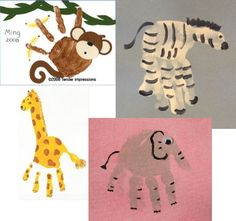 Handprint animals - shower activity for little kid guests