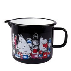 Pitcher with characters from the Moominvalley, black coloring with white and red details. Durable and easy to take care…